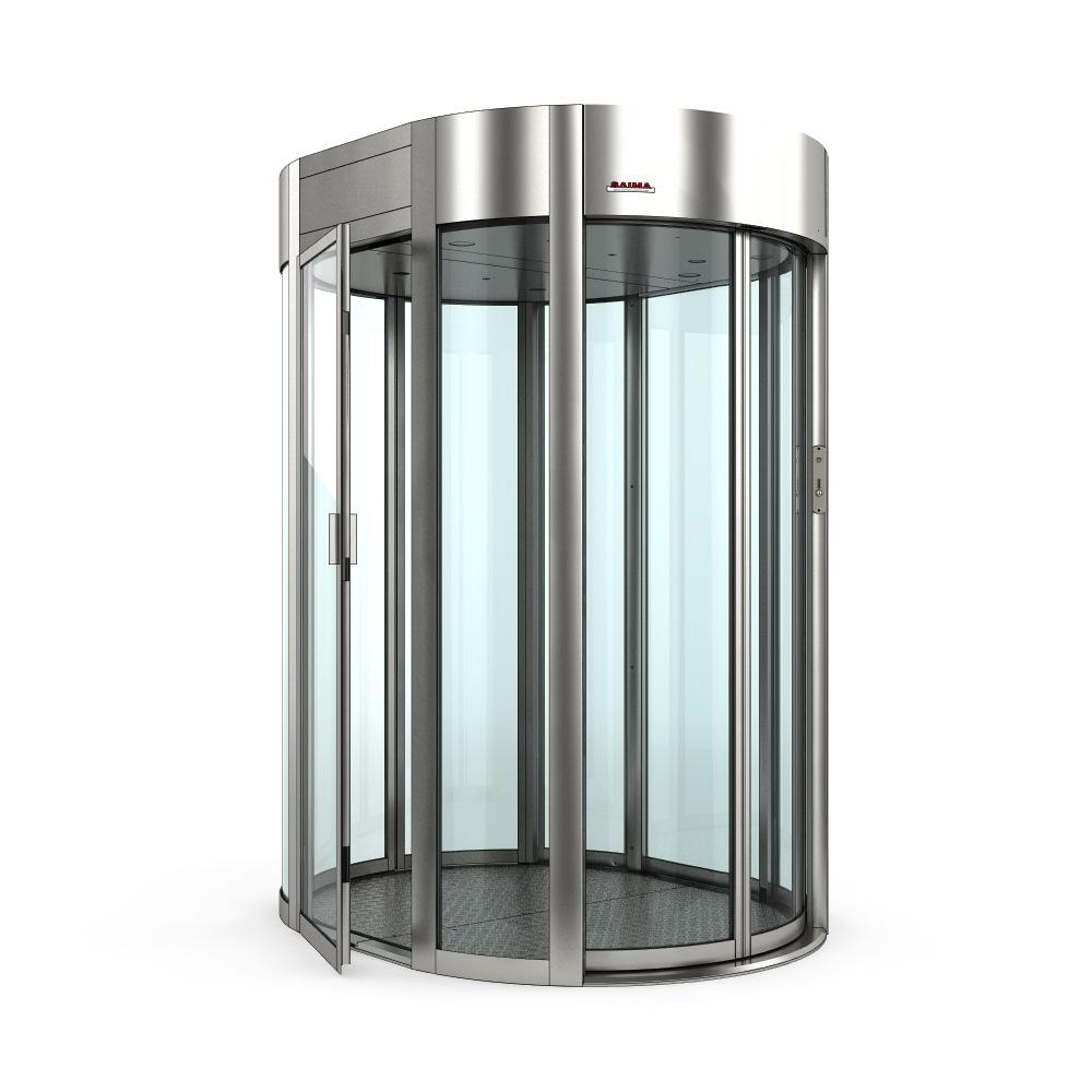 SAIMA Gate Box автоматическая шлюзовая кабина овальной формы с двумя полукруглыми сдвижными дверьми и дополнительным боковым выходом