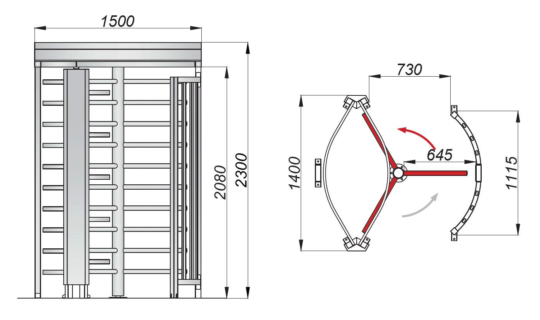 Размеры SAIMA Turnstile TR 121 S