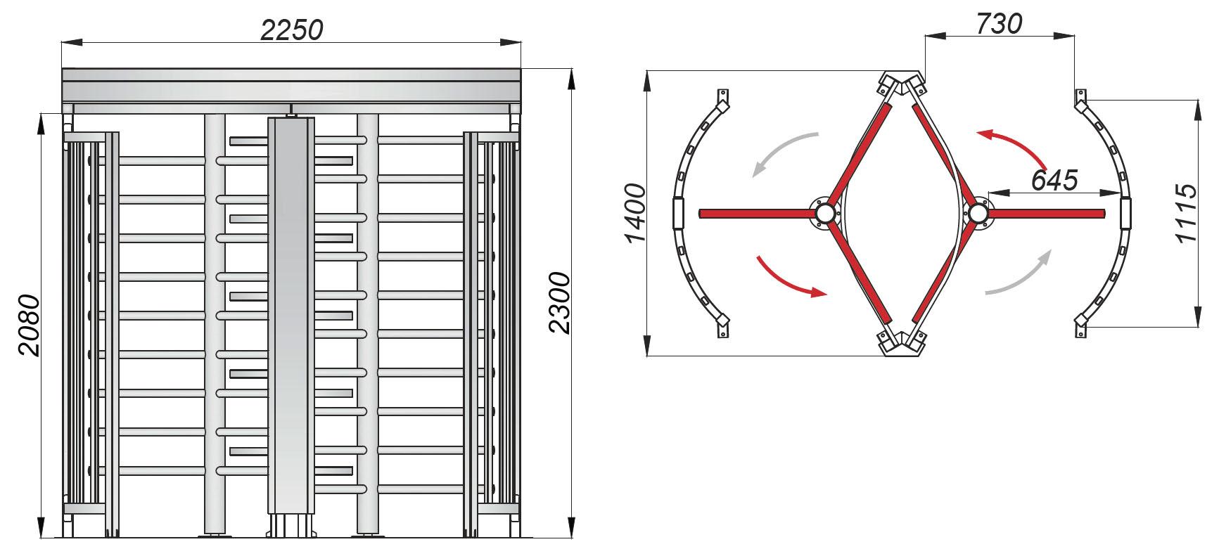 SAIMA Turnstile TR 121 D чертеж